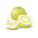 Isolated colored yellow whole, half and slice of juicy pomelo with shadow on white background. Realistic wedge citrus fruit. Isolated colored yellow whole, half Royalty Free Stock Photo