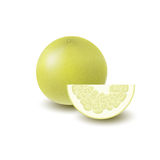 Isolated colored yellow whole and slice of juicy pomelo with shadow on white background. Realistic wedge citrus fruit.  Stock Images