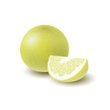 Isolated colored yellow whole and slice of juicy pomelo with shadow on white background. Realistic wedge citrus fruit. Isolated colored yellow whole and slice Royalty Free Stock Image