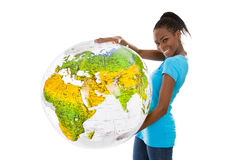Isolated colored young woman holding a globe in her hands. Stock Images