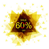 Isolated colorful discount sticker on white background. Abstract geometric triangular banner sales. Vector Royalty Free Stock Images