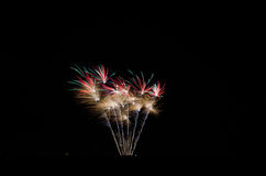 Isolated, colorful fireworks. Single piece of colorful fireworks going off in a field landscape on new years eve Stock Photos