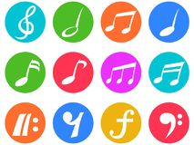 Colorful freehead music note icon buttons set. Isolated colorful freehead music note icon buttons set from white background Royalty Free Stock Images