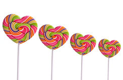 Isolated colorful heart-shaped lollipops Royalty Free Stock Image