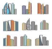 Isolated colorful high buildings icons collection, skyscrapers vector illustrations on white background. Stock Photography