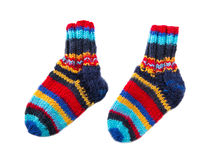 Isolated colorful knitted socks Royalty Free Stock Photo