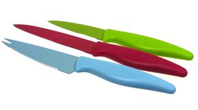 Isolated colorful knives Stock Photos
