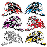 Isolated colorful lion symbols Stock Photos