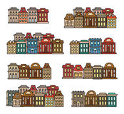 Isolated colorful low-rise houses,city elements vector illustrations set, municipal buildings icons collection. Stock Image