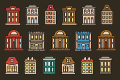 Isolated colorful low-rise municipal houses in lineart style icons collection, elements of urban architectural buildings Royalty Free Stock Images