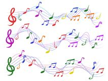 Colorful musical notes. Isolated colorful musical notes from white background Stock Images