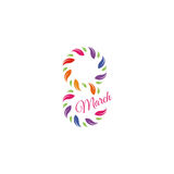 Isolated colorful number eight of leaves and petals with pink word march icon, international women day greeting card Stock Images