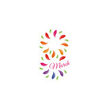 Isolated colorful number eight of leaves and petals with pink word march icon, international women day greeting card Royalty Free Stock Photography
