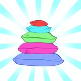 Isolated colorful pillows-vector illustration Stock Photography