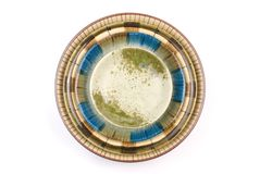Isolated colorful pottery dish Royalty Free Stock Images