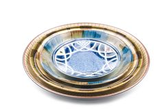 Isolated colorful pottery dish Royalty Free Stock Photo