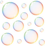 Isolated colorful rainbow soap bubbles Stock Image