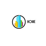 Isolated colorful real estate agency logo, house logotype on white, home concept icon, skyscrapers vector illustration. Royalty Free Stock Photos