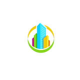 Isolated colorful real estate agency logo, house logotype on white, home concept icon, skyscrapers vector illustration. Royalty Free Stock Photography
