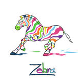 Isolated colorful running zebra Royalty Free Stock Images