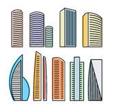 Isolated colorful skyscrapers in lineart style icons collection, elements of urban architectural buildings vector Stock Photography