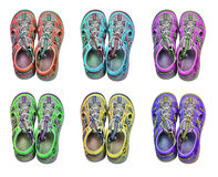 Isolated 6 colorful sport sandals Royalty Free Stock Photo