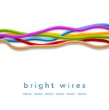 Isolated colorful vector wires on white background Stock Images