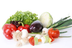 Isolated colorful vegetable arrangement Stock Photography