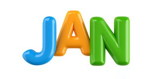 Isolated colorfull 3d Kid Name balloon font Jan. Colorfull 3d Kid Name balloon font Louis on white background Stock Image