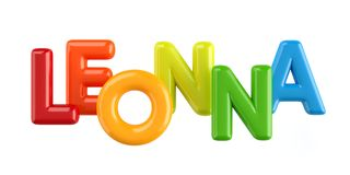Isolated colorfull 3d Kid Name balloon font Leonna. Colorfull 3d Kid Name balloon font Louis on white background Stock Photography