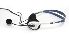 Isolated communications headset. Headset Royalty Free Stock Photo