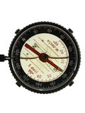 Isolated Compass. A plastic compass with a red spinner in macro over white Royalty Free Stock Photography