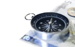 Isolated compass and euro Stock Photos