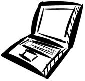 Isolated Computer laptop in black Royalty Free Stock Photos