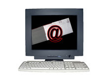 Isolated computer monitor with email scene concept. Computer monitor isolated over white by clipping path showing a email scene concept on the screen stock image