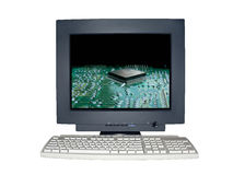 Isolated computer monitor with technology scene concept Stock Images