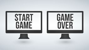 Isolated computer monitors or tv with Start or Game Over on the screen. Isolated computer monitors or tv with Start or Game Over on the screen Stock Images