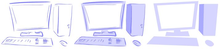 Isolated Computers desktop in blue tones Royalty Free Stock Photo