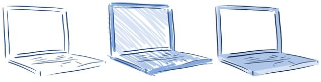Isolated Computers laptop in blue tones Stock Photos