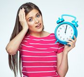 Isolated concept portrait of woman with watch. Late for work place to complete your career. Isolated concept portrait of woman with watch stock photo