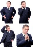 Isolated concerned thinking smiling businessman stock photo