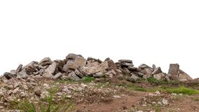 Isolated concrete debris on the ground royalty free stock photography