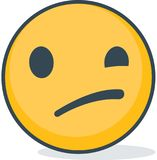 Isolated Confused smiley emoticon. Isolated emoticon. Stock Image