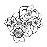 Mysterious Eyes Contour. Isolated contour with a mysterious eyes, flowers, leaves. Creative hand-drawn design for fashion, beauty, tattoo Royalty Free Stock Photography