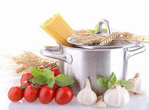Isolated cookin pot and ingredient Royalty Free Stock Image