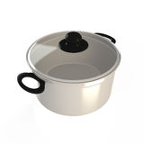 Isolated cooking pot, 3D. Isolated silver cooking pot with cover, 3D Stock Images