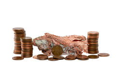Isolated Copper Nugget and Copper Pennies Royalty Free Stock Images