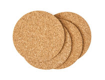 Isolated cork drink coasters Stock Image