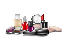 Isolated Cosmetics. Selection of cosmetics on white background stock illustration