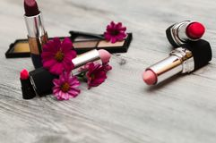 Isolated cosmetics on a white background. makeup concept royalty free stock photo